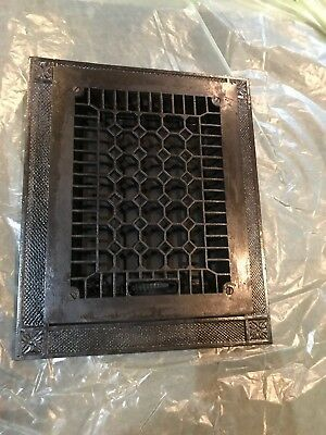 #4 Antique refinished cast-iron heating grate with frame insert 14.25 x 17.25