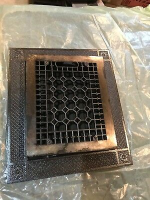 #5 Antique cast-iron honeycomb heating grate with frame 13 5/8 x 15 five eights