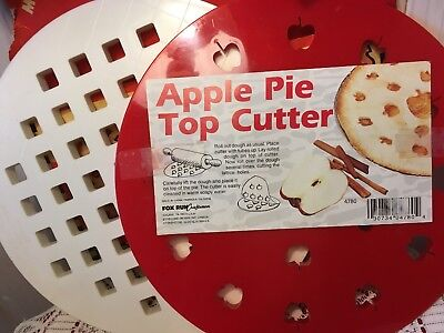 Set of 2 Plastic Pie Top Cutters-Criss Cross & Apple-with instructions-Vintage