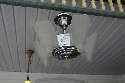 Antique Art Deco Chrome  Slip Shade Ceiling Light Fixture Hanging Chandelier