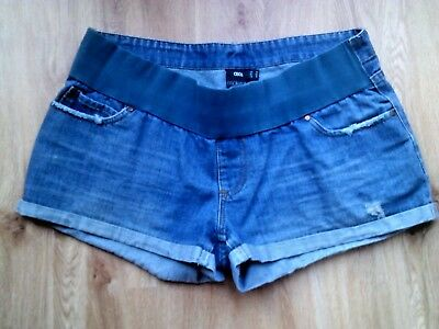Asos Maternity Blue Under Bump Denim Jeans Very Short Shorts Size 14