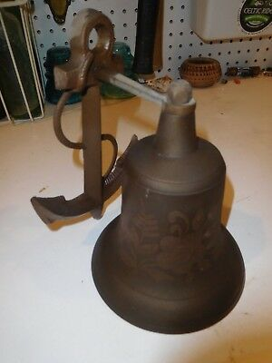Vintage Solid Brass Ship's Anchor Dinner Bell Etched Nautical Decor Wall Mount