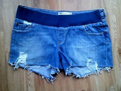 Asos Maternity Blue Under Bump Frayed Denim Jeans Very Short Shorts Size 16