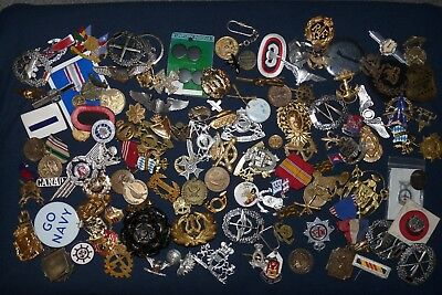 HUGE Junk Drawer Lot of Mixed US & Foreign Metal & Cloth Insignia - 125+ pieces