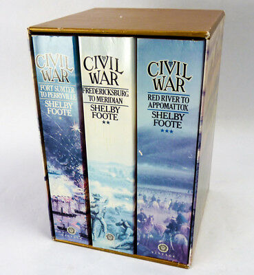 The Civil War Trilogy by Shelby Foote 3 Volume Softcover Set 1986 w/Case