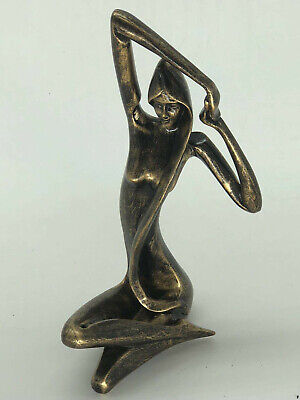 Art Deco Bronze Sculpture Statue Figure Abstract Girl Yoga Cold Cast Figurine