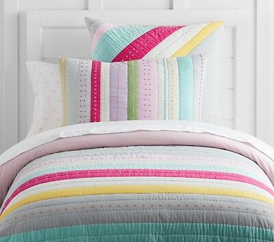 Pottery Barn Kids Bright Stripes Quilt Twin Girls New With Tags