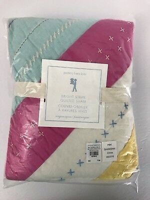 "Pottery Barn Kids Bright Stripe Quilted Euro Sham 26"" Square New Girls"