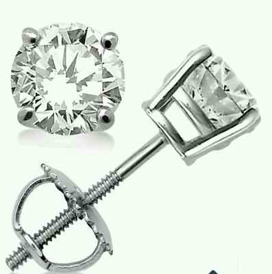 .40ct. Stud Earrings Round Cut 14K White Gold With Screw Back New.