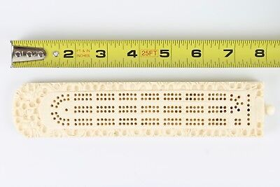 Whalebone ?  Asian ? Cribbage Board 5 Pegs Vintage Antique Estate Sale Find !!!!