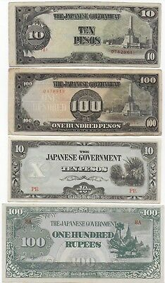 Japanese Government Burma Philippines Banknotes Lot Free Shipping