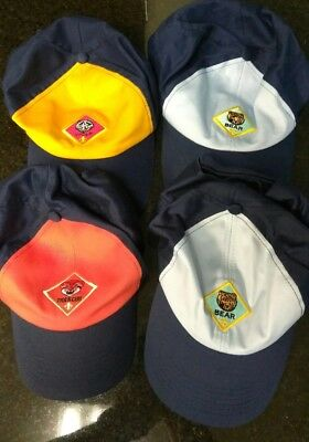 BSA Boy Scouts of America TIGER CUB, BEAR,  & WOLF SCOUT CAPS Lot of 4 Four