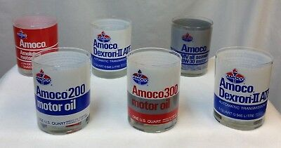 Vintage Lot of 6 Amoco ACL Drinking Rocks Bar Glasses 1 Qt Oil Can Sign Gas