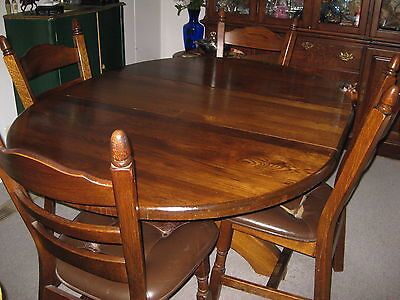 Dining table set Table and FOUR  chairs SOLID OAK HEAVY VINTAGE ANTIQUE LEATHER