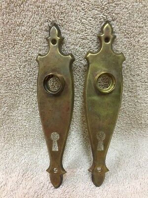 Antique Pair Stamped Brass Classic Doorknob Back Plates Escutcheons