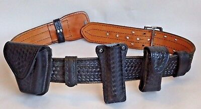 "Dutyman 32"" Police Duty Leather Basketweave Tactical Belt Mag Light Cuff Pouch"