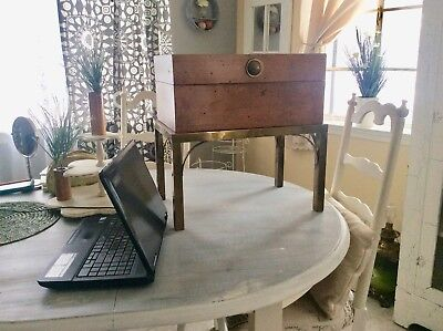 Antique Wooden Box Desk Stand Writing Sewing Jewelry Victorian Vintage Trinket
