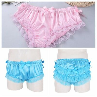 87fcb4b01 See Details. Sissy Ruffle Panties Mens Briefs Underwear Lace French Maid  Shiny Boxer Shorts