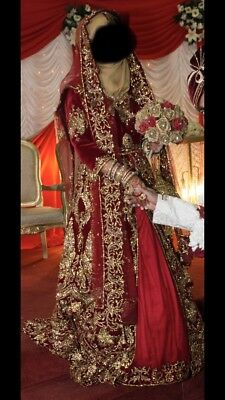 Red Velvet Asian Wedding Dress 855 00 Picclick Uk