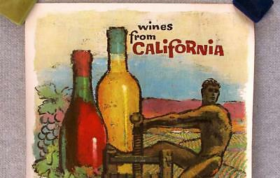 Vintage Original Lithograph Print Poster ~Wines From California~ Amado Gonzalez