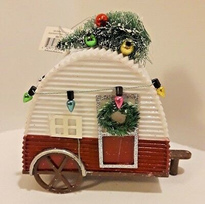 """New 5"""" Shatterproof Christmas Decorated Camper Tree Ornament"""
