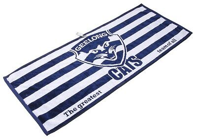 Official Afl Jacquard Golf Towel - Geelong - Brand New - Value Plus!!