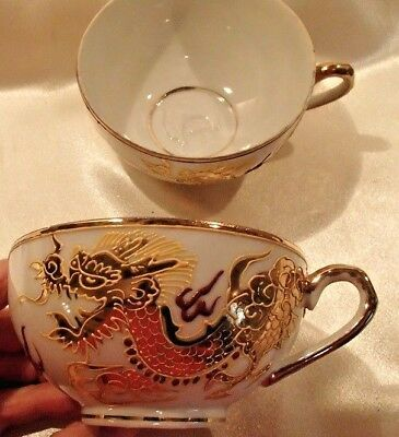 3- Moriage Dragon Lithophane Kutani Porcelain Tea Cups Japan
