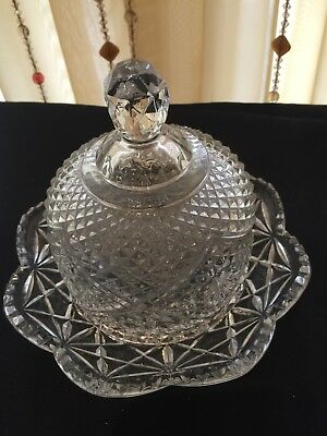 Vintage Avon Domed Lid Crystal Clear Glass Covered Butter/Cheese Dish Fostoria