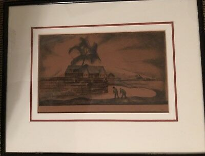 """Old pen and ink drawing signed Lily Furedi, matted and framed, picture 6.5""""x10"""""""