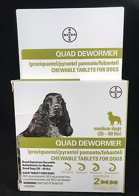Bayer Quad Dewormer Broad Spectrum Chewable Tablets for Medium Dogs 26 -60 lbs