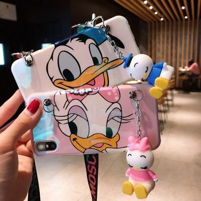 3D Cute Daisy Donald Doll Stand Lanyard Case Cover for iPhone XS Max XR 7 8 Plus