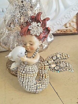 vintage MERMAID rhinestone NORCREST jewelry plaque OMG! brooch Earrings * BLING