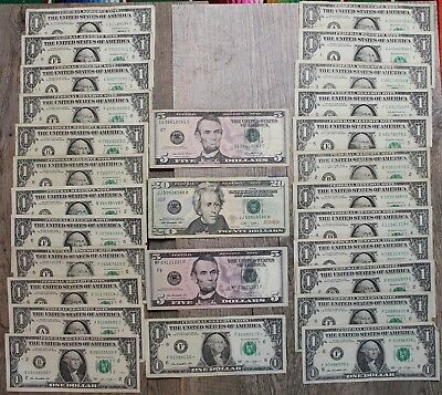 $55 face value ALL TRINARY SERIAL NUMBERS $1 $5 $20 Rare Collection STAR NOTE US