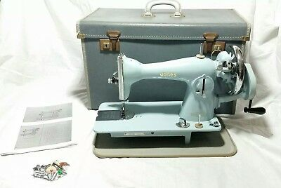 Vintage JONES Sewing Machine Blue Hand-Crank With Carry Case(VERY RARE)