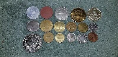 Small Lot of 17 Different Tokens Coins