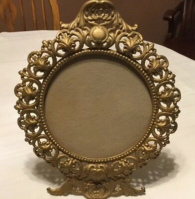 """Vintage Cast Iron Art Round Easel Picture Frame Gold Ornate JM29 14"""" Rococo"""