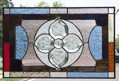 "•POWER Flower  •Beveled Stained Glass Window Panel • 19 3/8 ""x12 3/8"" (50x31cm)"