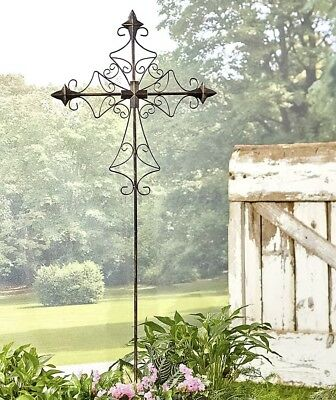 1 Angular Scroll Metal Cross Garden Stake Yard Art Lawn Outdoor Home Decor