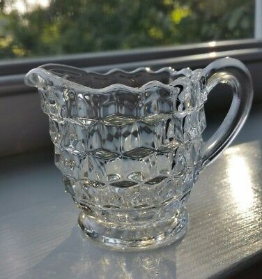 Vtg Fostoria American FOOTED WHITEHALL CREAMER 3D Cube Clear Pedestal. Perfect!