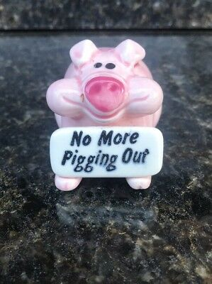 No More Pigging Out - Vintage Pink Pig Figurine