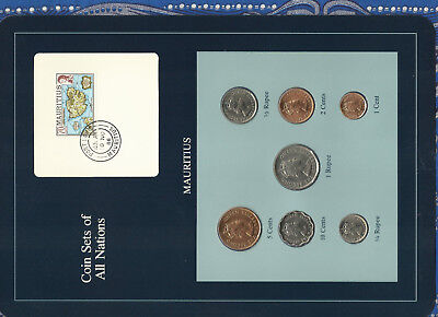 Coin Sets of All Nations Mauritius wcard 1978 UNC 1/4,1/2,1 Rupee 10,5,2,1 Cents