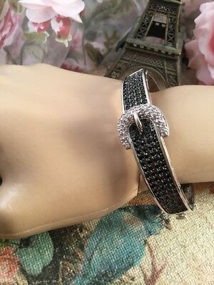Vintage Jewellery Gold Buckle Bangle Black and White Sapphires Dress Jewelry