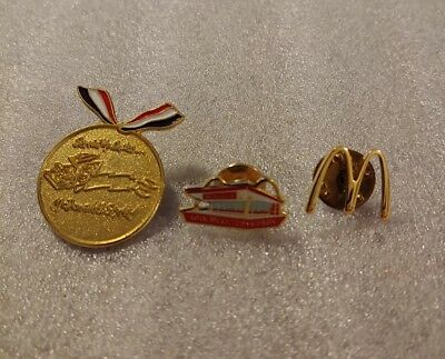Lot of 3 Mixed McDonald's 1980's to 1990's Collectible Lapel Pins(L)