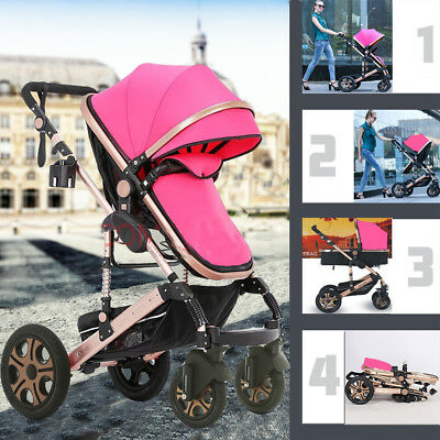 Pink Aluminium Pushchair Baby Toddler Stroller Pram Jogger with Bassinet Buggy