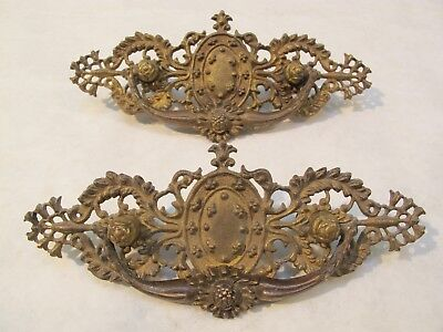 Antique Vintage Drawer Door Cabinet Pull Solid Brass Patina Large Ornate