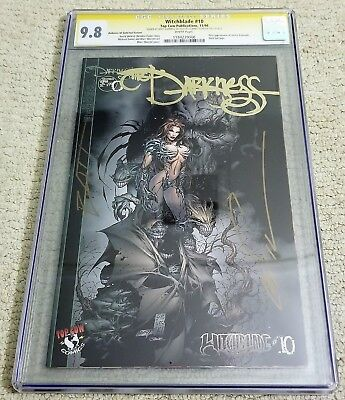 Witchblade #10 Gold Foil CGC SS 9.8 1st Darkness Double Signed Silvestri/Batt