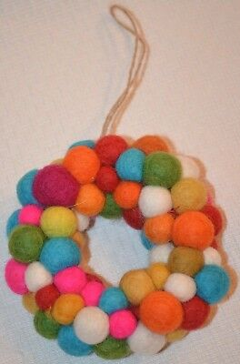 Pottery Barn Kids Felted Wool Pom Pom Wreath Merry Bright Christmas Ornament