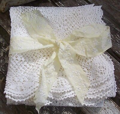 Vintage Crochet Lace Table Cloth Table Topper Supper Cloth Shabby White