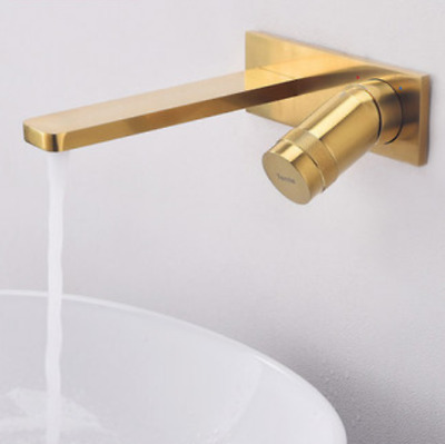 Wall-mounted invisible Brushed Gold Brass Bathroom Basin Round Sink Tub Mixer