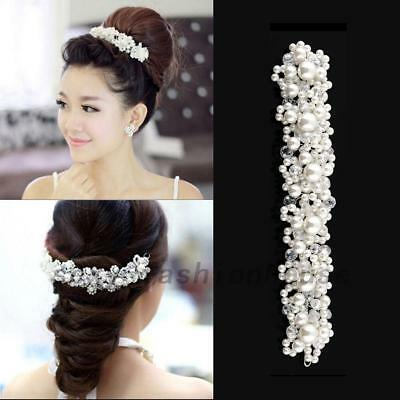 Princess Wedding Prom Party Pearl Crystal Bride Tiara Hair Accessories Headband